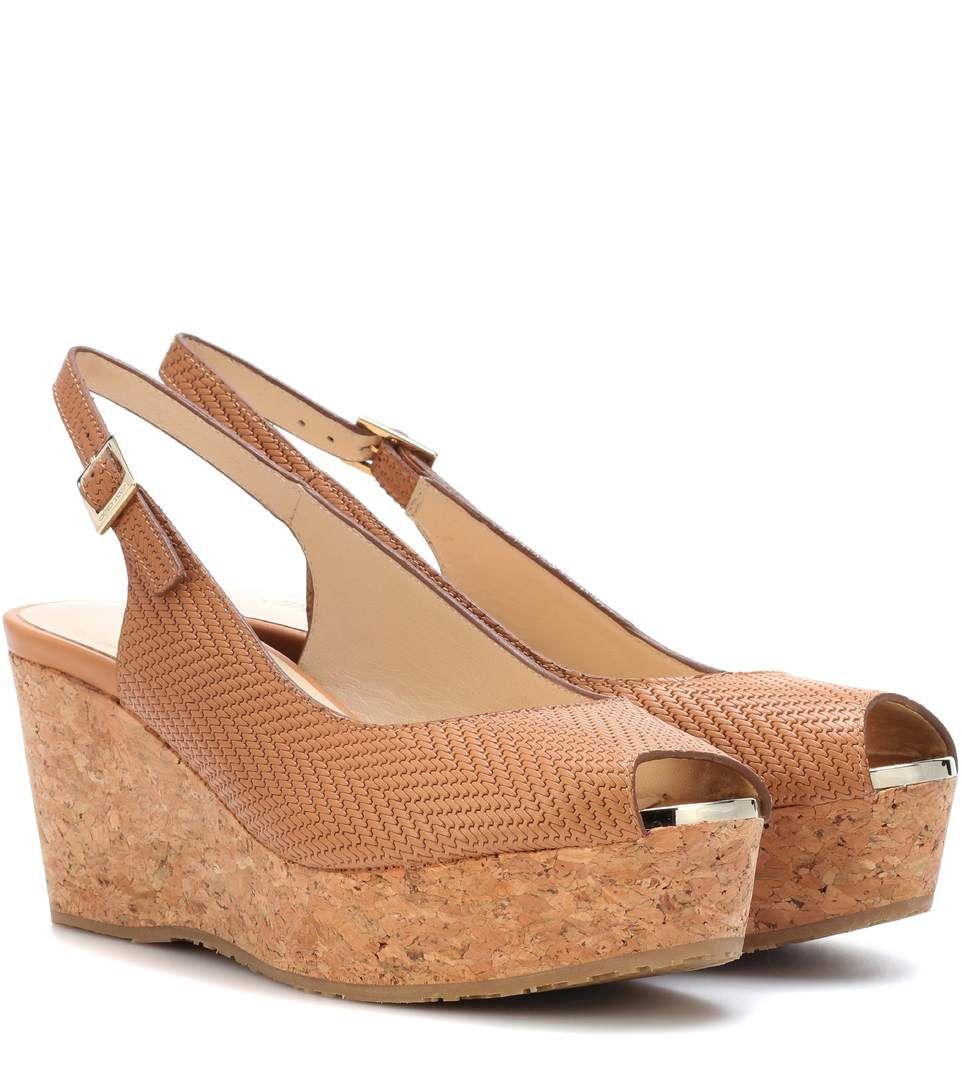 fbf1a5e0fe57 JIMMY CHOO Praise leather wedge sandals.  jimmychoo  shoes