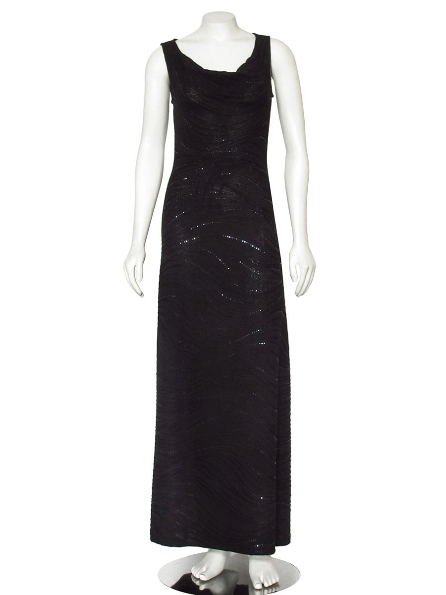Gorgeous Long Black Paillette Embellished Evening Gown From St John Knits Made The Designers Signature Wool Blend