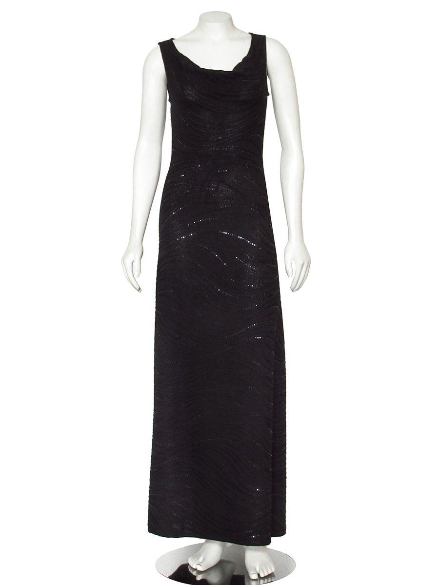 St. John Long Black Santana Knit Evening Dress with Paillettes | St ...