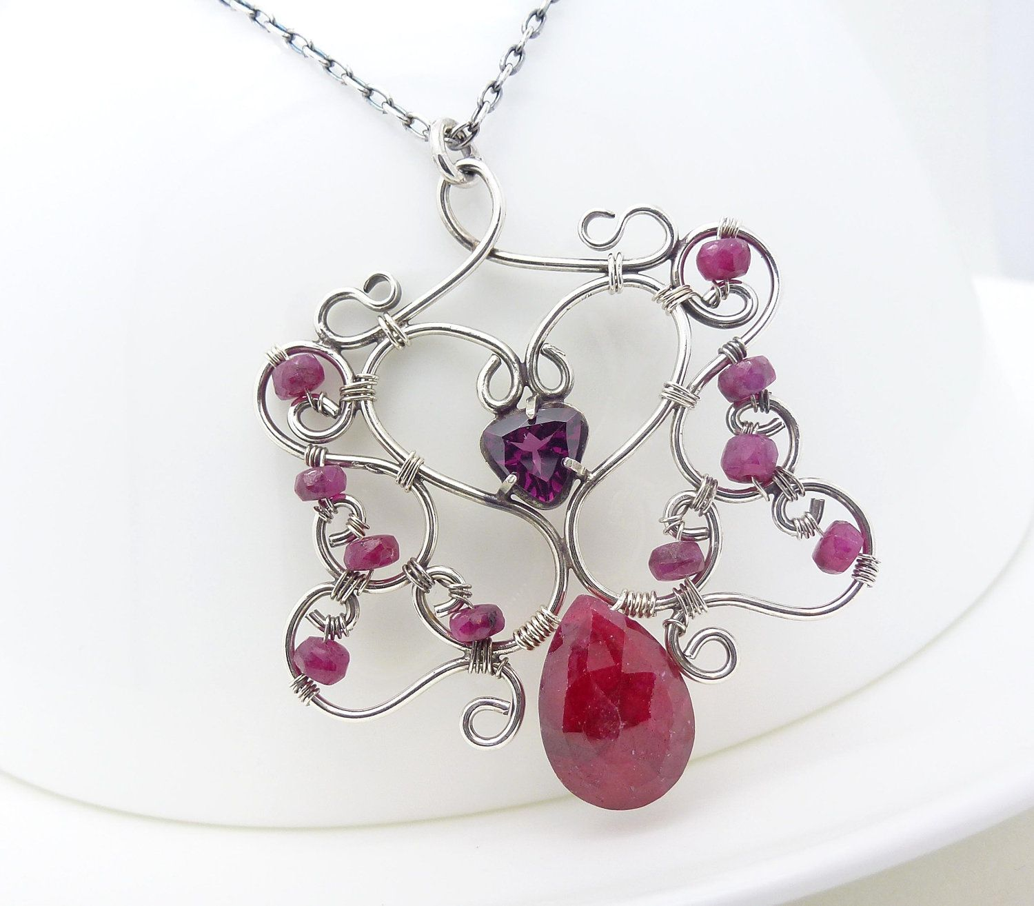 Sterling silver ruby necklace, wire wrapped necklace, wire wrapped ...