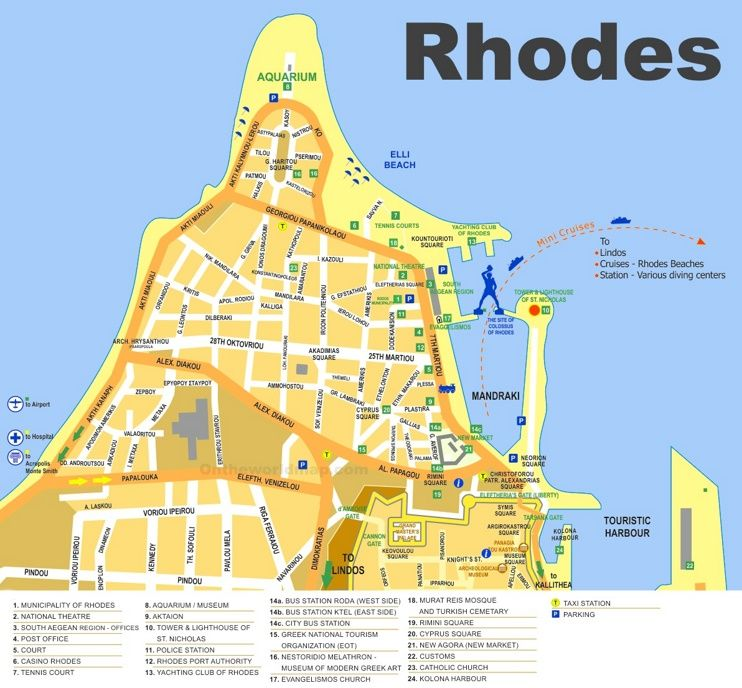 Rhodes City sightseeing map Maps Pinterest Rhodes and City