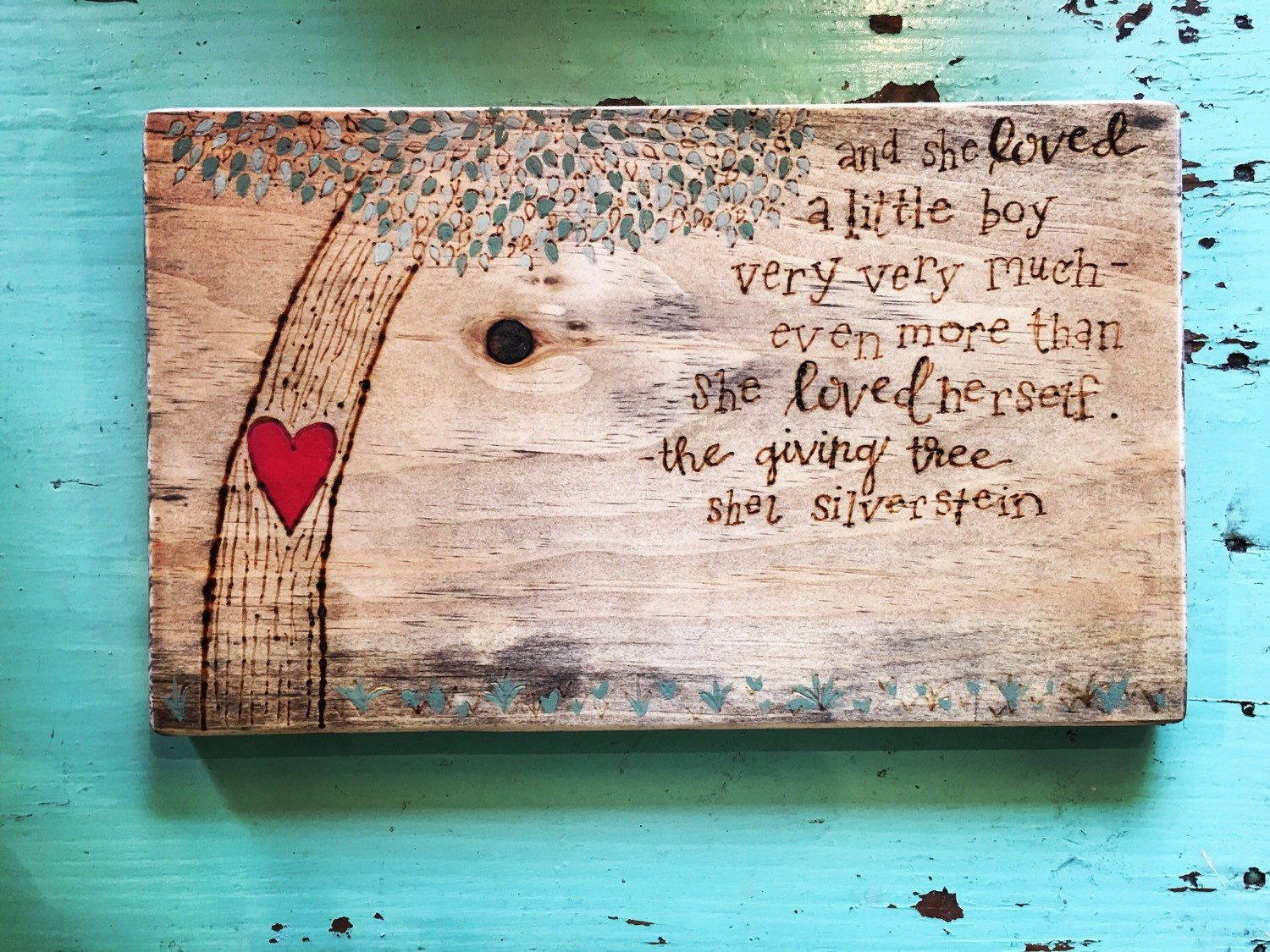 The Giving Tree Quotes: Hand Lettered & Wood Burned Shel Silverstein, The Giving