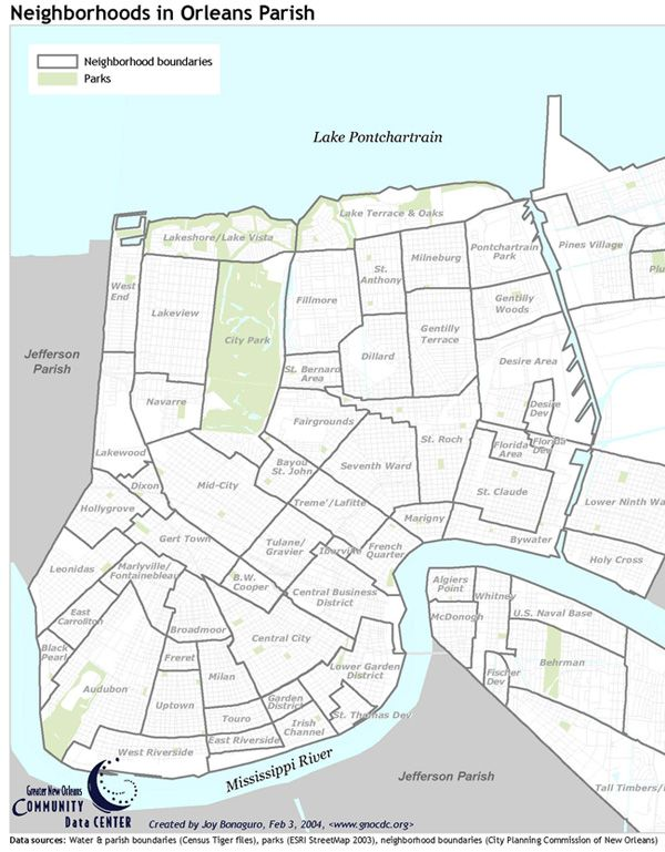 Neighborhoods in Orleans Parish map from the Greater New Orleans