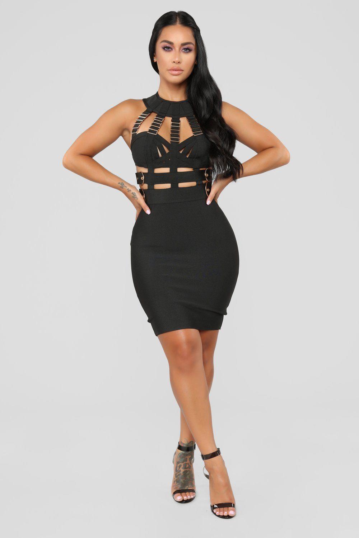Kimberly Bandage Dress Black White bandage dress