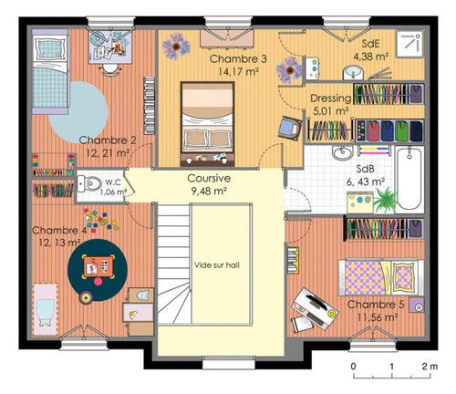 plan maison etage simple