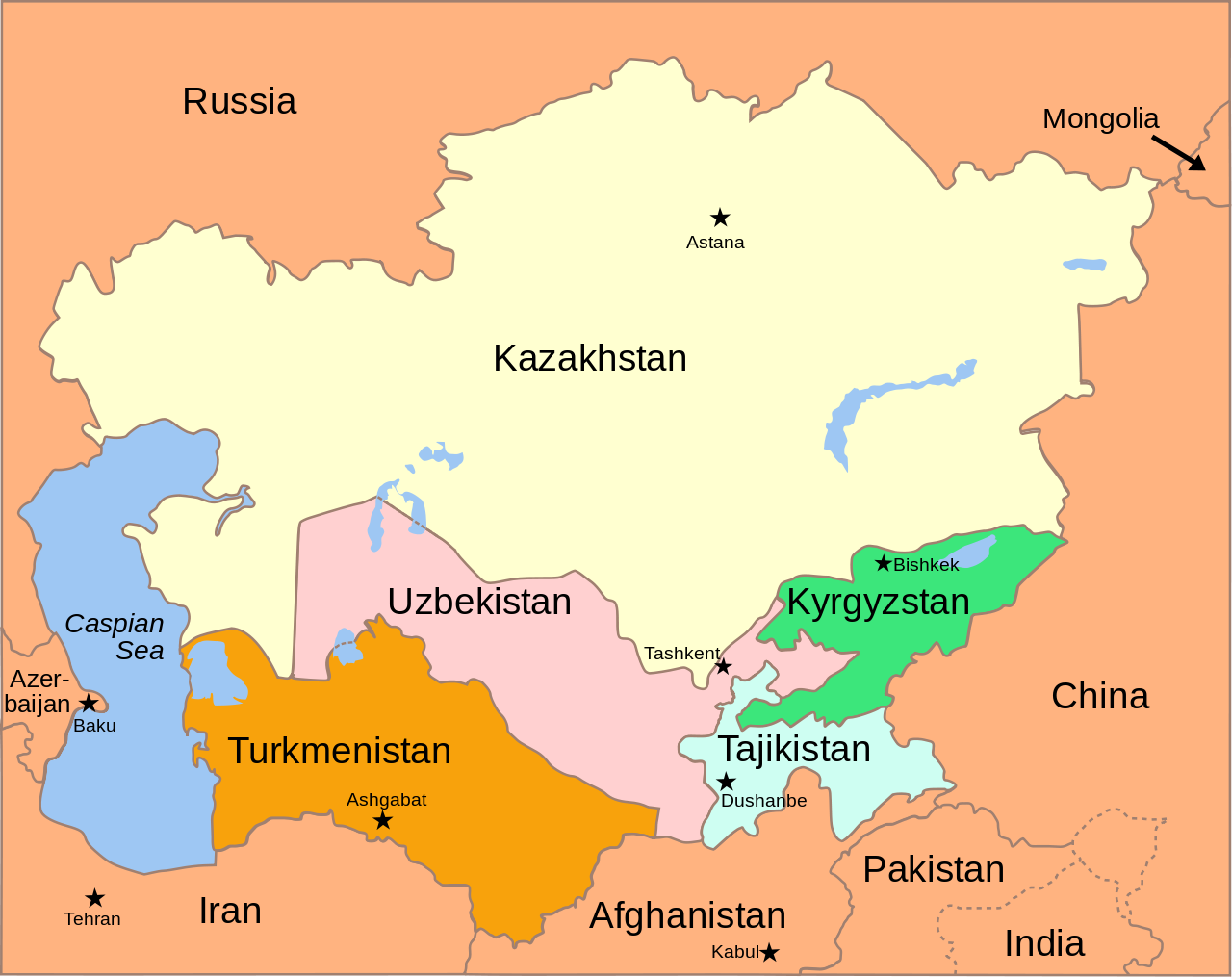 Central Asia political map My ancestors Pinterest Asia