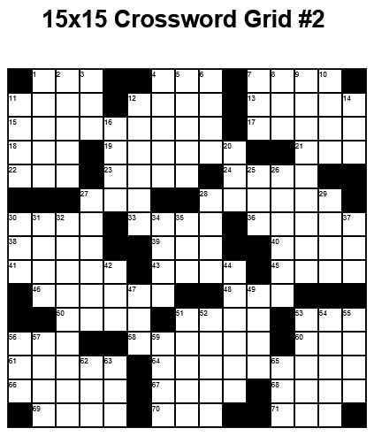 15x15 Medium Crossword Puzzle Grid 2 Puzzle 23 Crossword