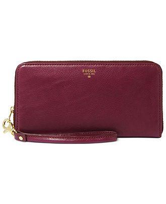 Fossil Wristlet, Sydney Leather Zip Clutch - Wallets Wristlets - Handbags Accessories - Macy's