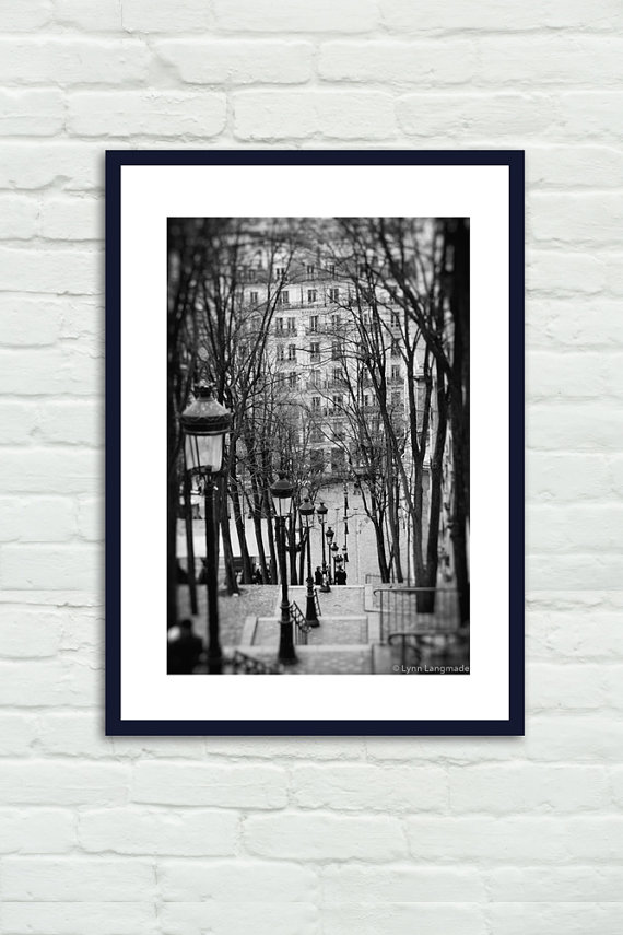 Paris black and white steps montmartre paris 8x10 prints black and white photography paris wall decor 11x14 16x20 when time stood still paris wall