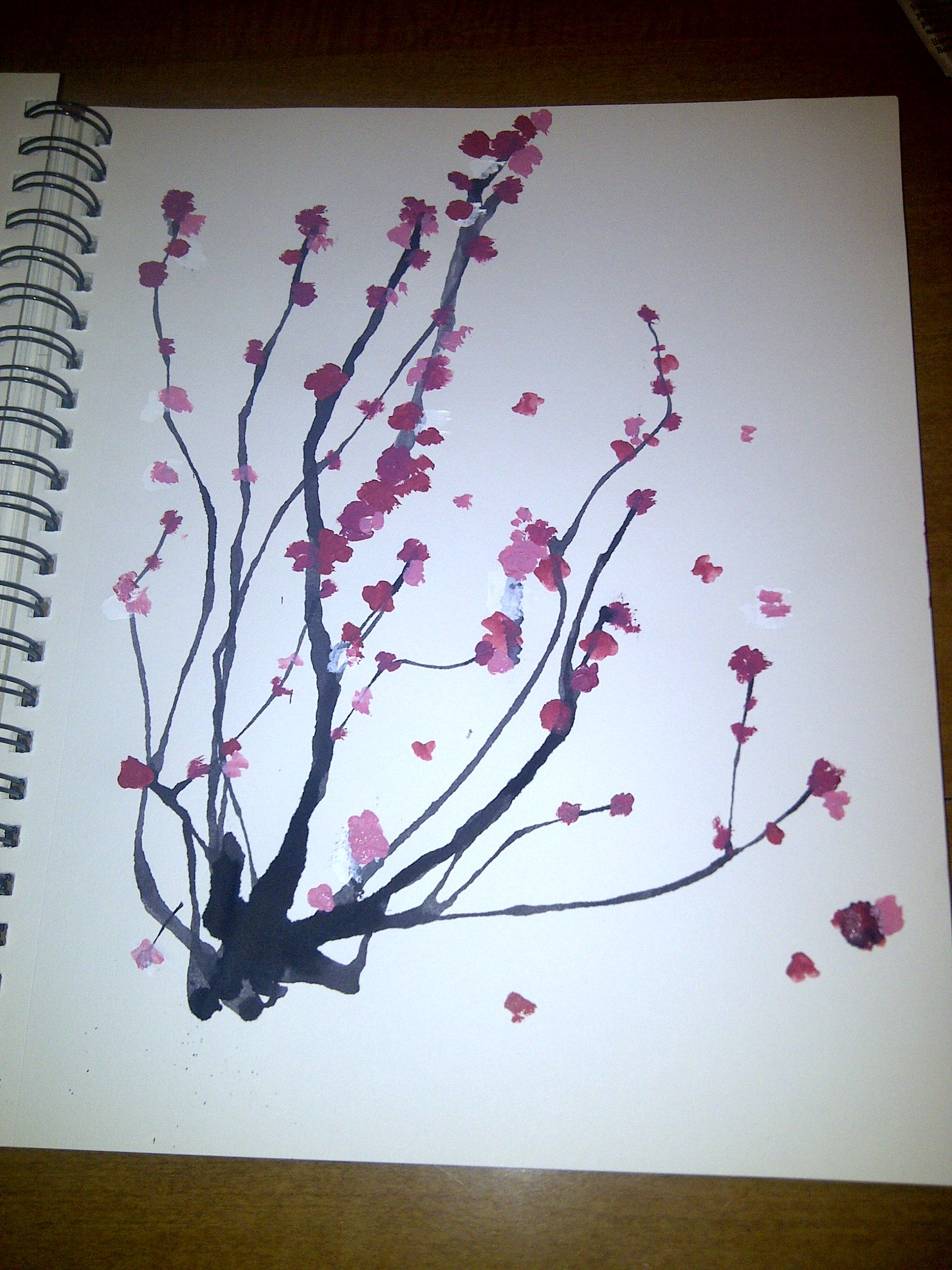 Japanese Cherry Blossom Tree Abstract Flower Painting Japanese Artwork Japanese Woodblock Printing