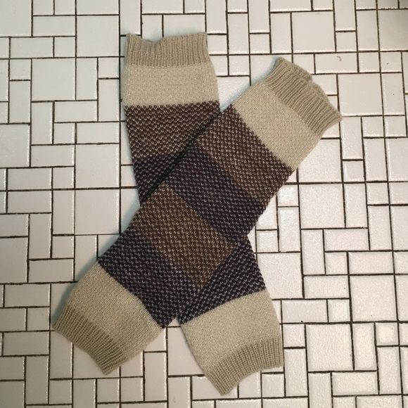Leg warmers Cream, brown and purple soft, thick knit leg warmers. Never worn. Accessories Hosiery & Socks