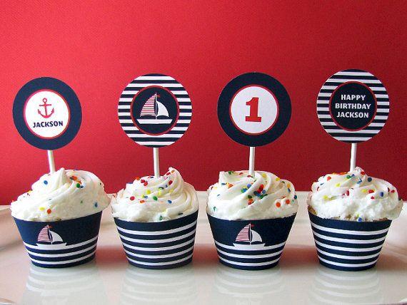Nautical Birthday Printable   Sail Boat   Cupcake Toppers   Printable Party    Printable Party Logos