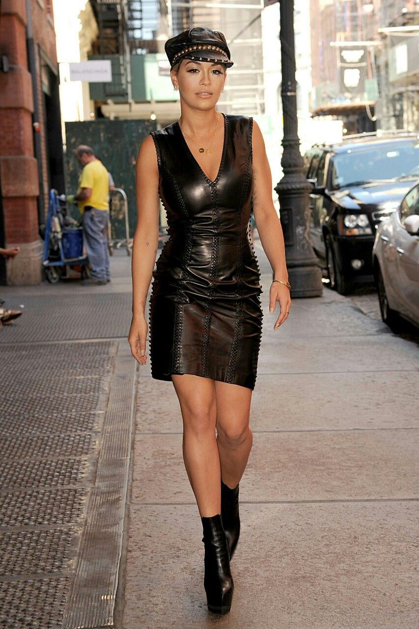 """ectobuddha: """" Rita Ora in a black leather dress and boots ..."""