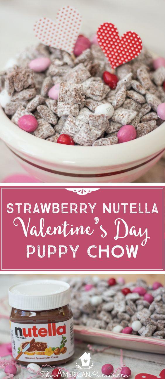Strawberry Nutella Valentine Puppy Chow