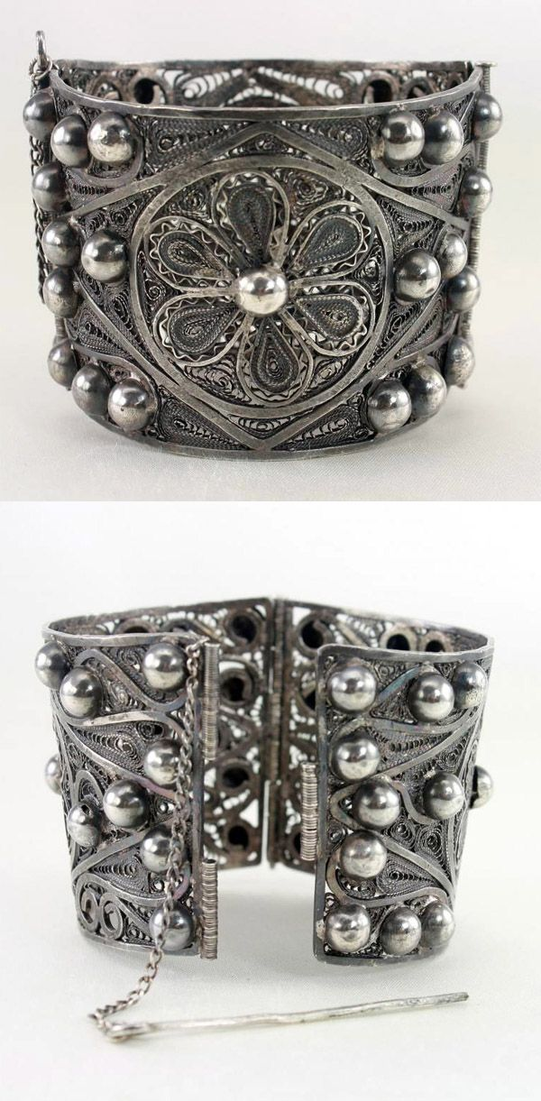 Vintage 1920 S Middle Eastern Egyptian Sterling Silver Filigree Cuff