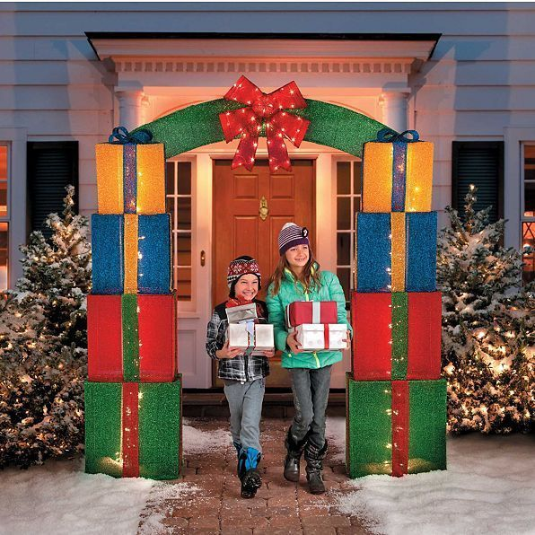 christmas 8ft gift box lighted outdoor entryway archway. Black Bedroom Furniture Sets. Home Design Ideas