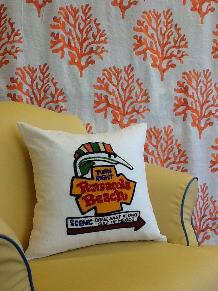 Hand Beaded Pensacola Beach Pillow At Garden St Fabrics Beach Pillows Pensacola Beach Pensacola