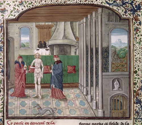 Physicians examine a patient, Livre des proprietez des choses (Brit. Lib. Royal 15 E II, fol. 77v), 1482