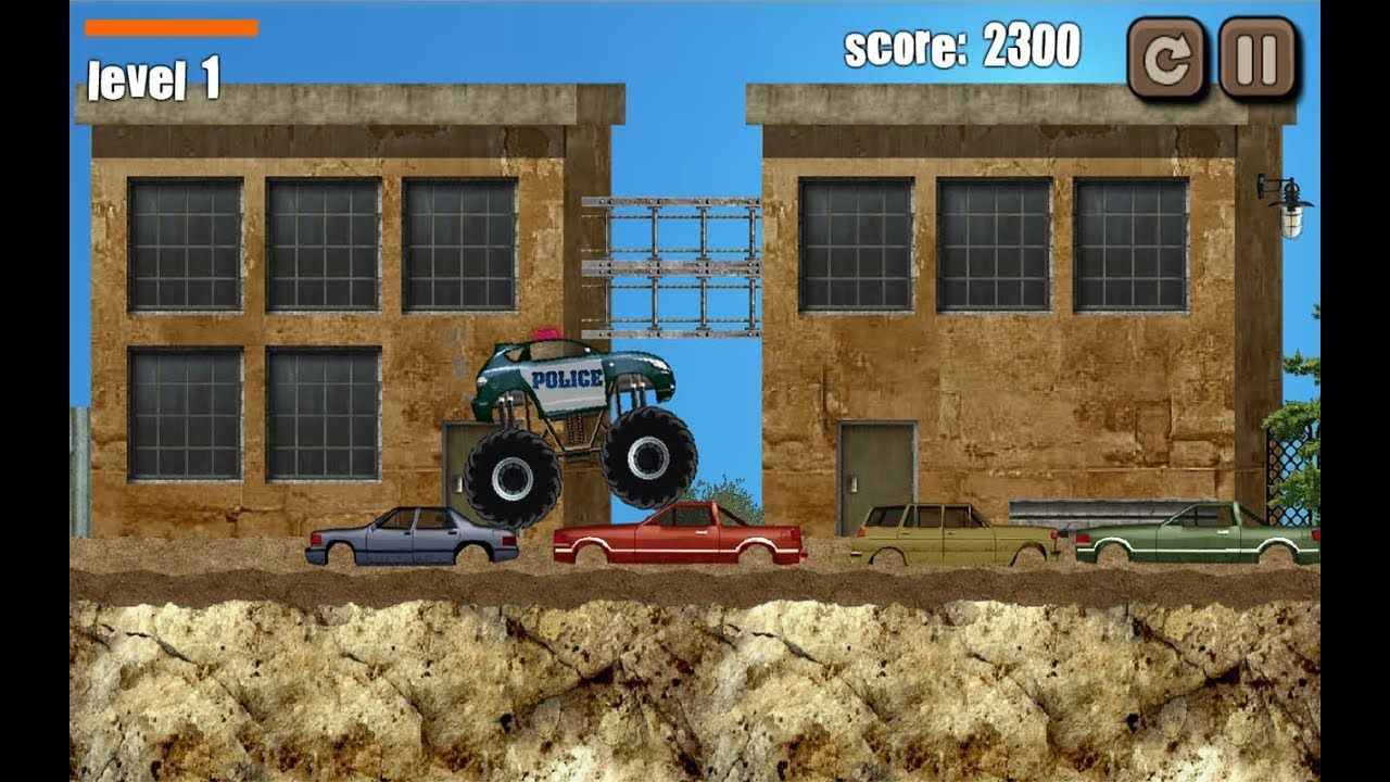Police Monster Truck Part 1 Level 1 10 Monster Truck Police Car Game Truck Games For Kids Racing Games For Kids Monster Trucks