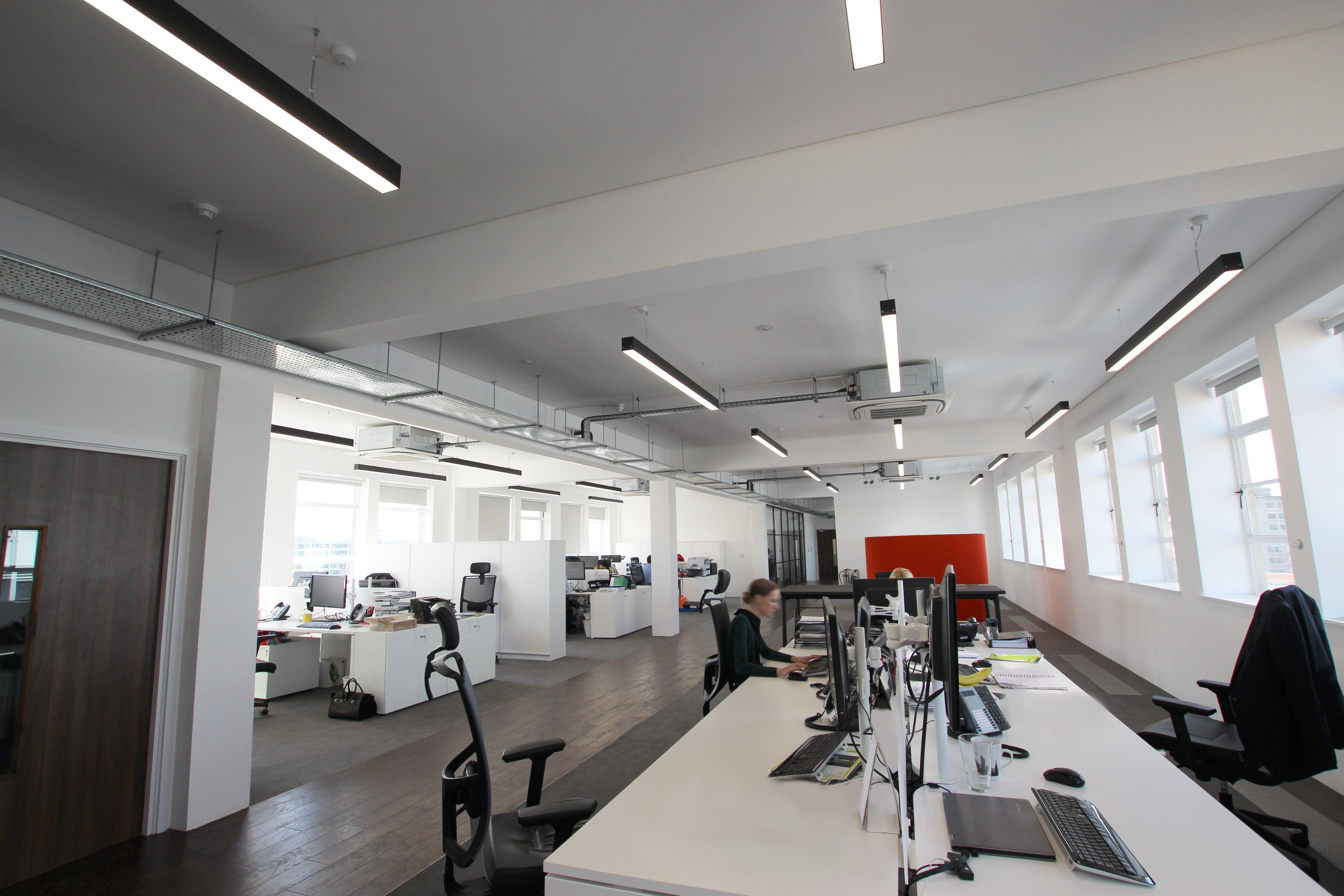 299 lighting supplied slim linear led lighting for an for Office design bristol