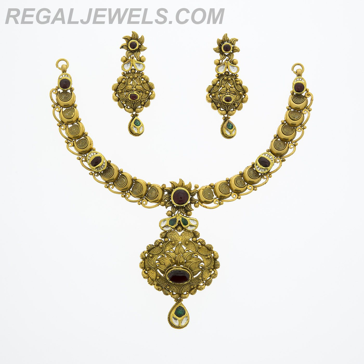 Regal jewels online kt antique finish gold with multi color