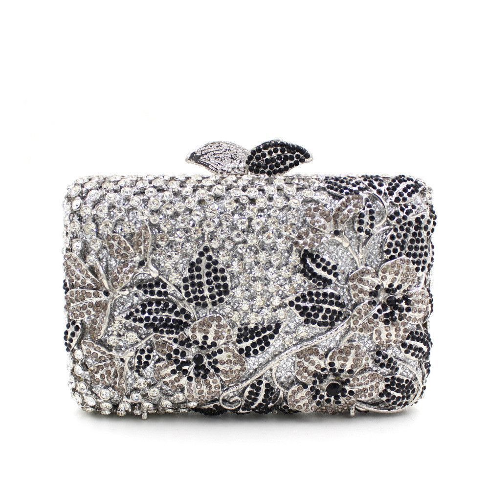 Luxury Flower Leave Rhinestone Prom Metal Clutch purse  55aee2db22c3f