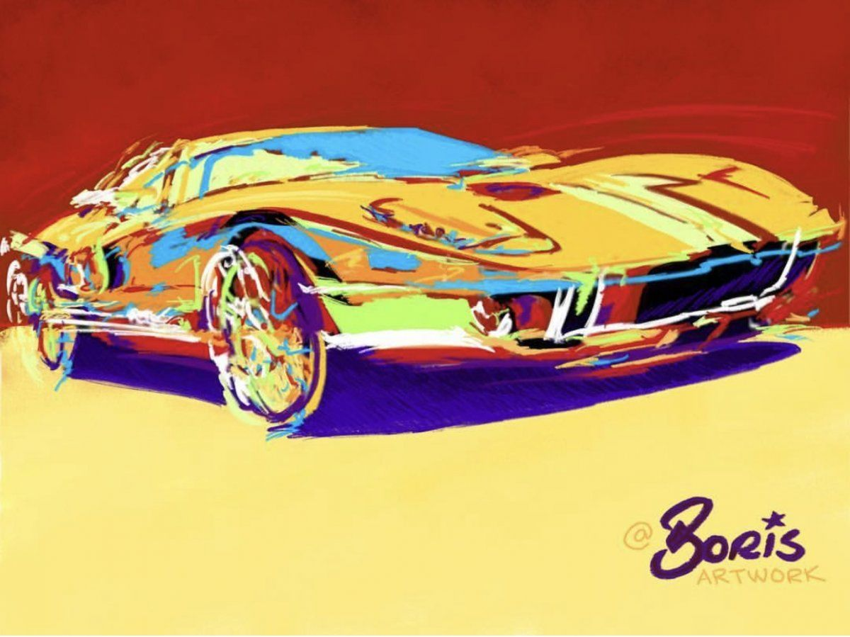 Gt40 Boris Draw To Drive Automotive Art Classic Car Art Pop Art