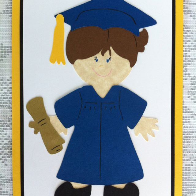 IzzyCards 14YP12 - Graduation card, yellow female paper doll theme