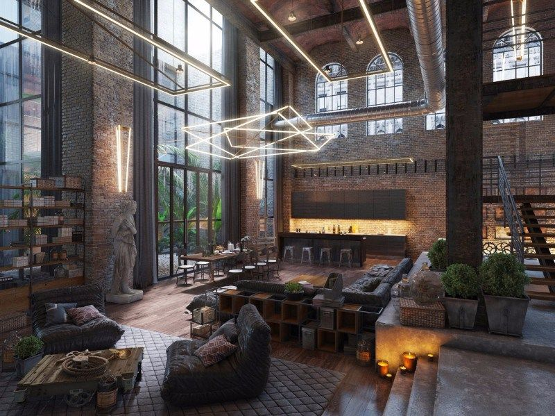 This loft living space symbolizes the efficient synergy between renaissance art and contemporary loft lighting ideas