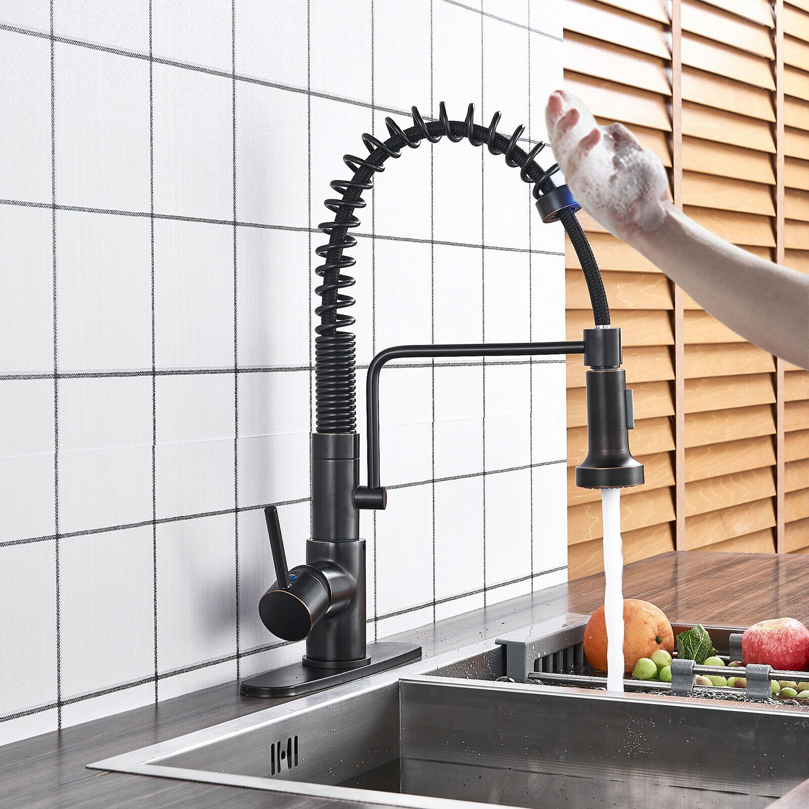 Matte Black Touch Sensor Kitchen Sink Faucet Pull Out Spray Swivel