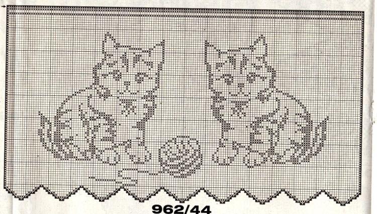 Curtain Two Cats Crochet Cat Pattern Crochet Doily Diagram Crochet Patterns