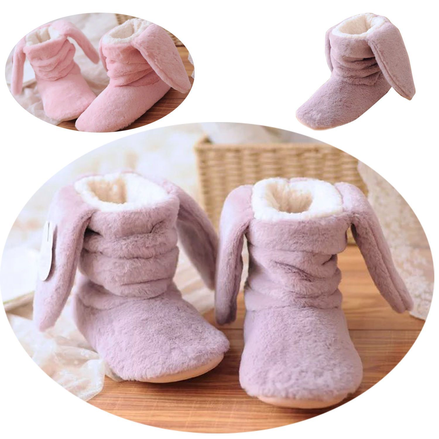 b8a95c65d5179 Cute Bunny Girls Women Winter Warm Home Shoes Rabbit Velvet Indoor Boots  Slipper