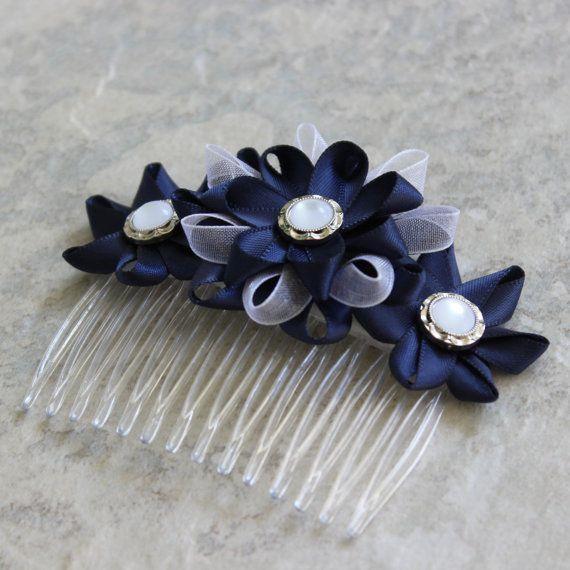 Navy Hair Comb Navy Flower Hair Comb Navy Blue Hair Accessories