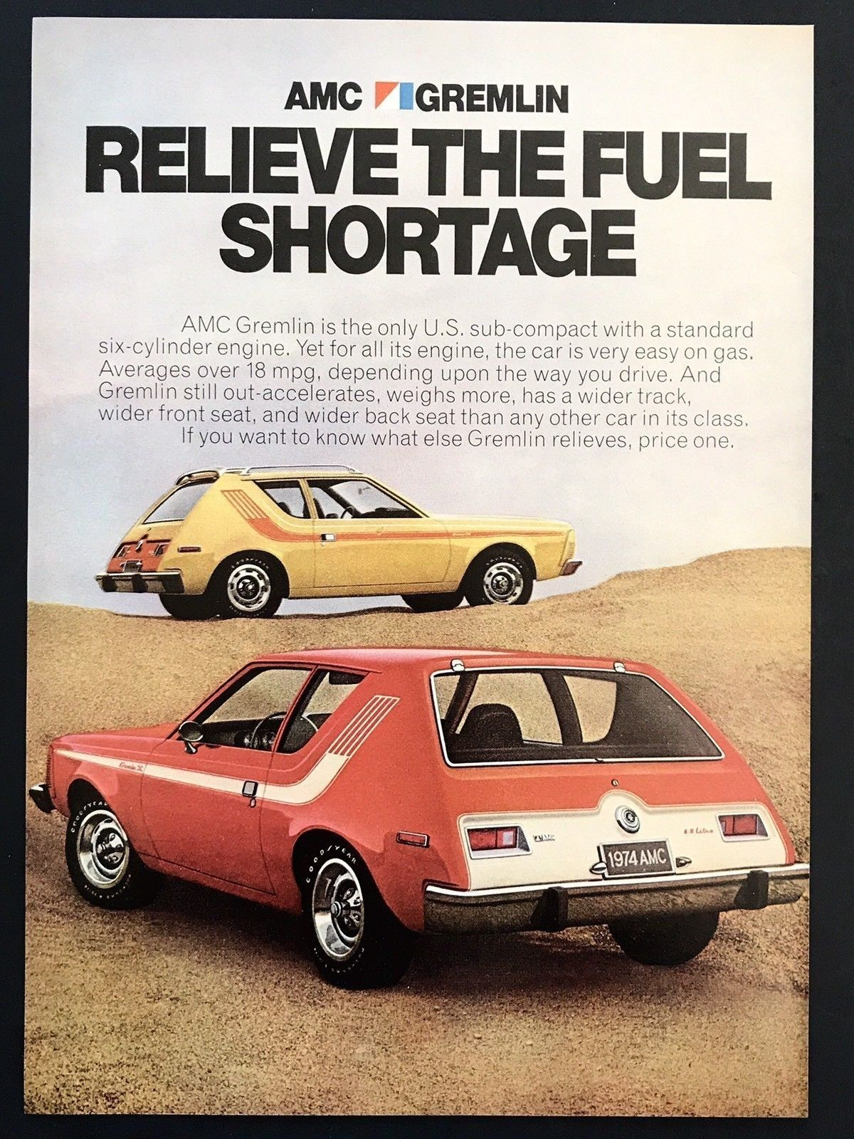 1974 vintage print ad amc gremlin red yellow car relieve the fuel rh pinterest com
