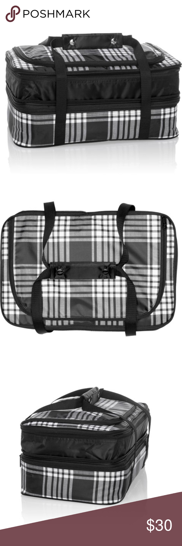 """New Thirty-One Perfect Party Thermal Party Bag The Perfect Party Set expands to hold two 9"""" x 13"""" casserole pans inside 2 interior water-resistant thermal compartments. Handle grips make it easy to carry, while the exterior zipper pocket can keep additional items like utensils, baking instructions and additional ingredients secure during transport. It's the most convenient way to take your favorite casseroles, desserts, appetizers and more to your next family picnic, neighborhood cookout, #familypicnicfoods"""