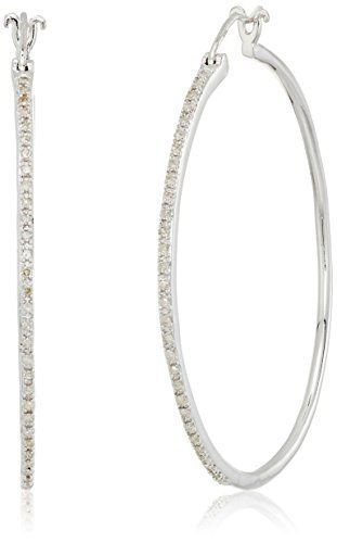 Sterling Silver Diamond Hoop Earrings 1 4 Cttw Price Clic Round Featuring White Diamonds In Pinteres
