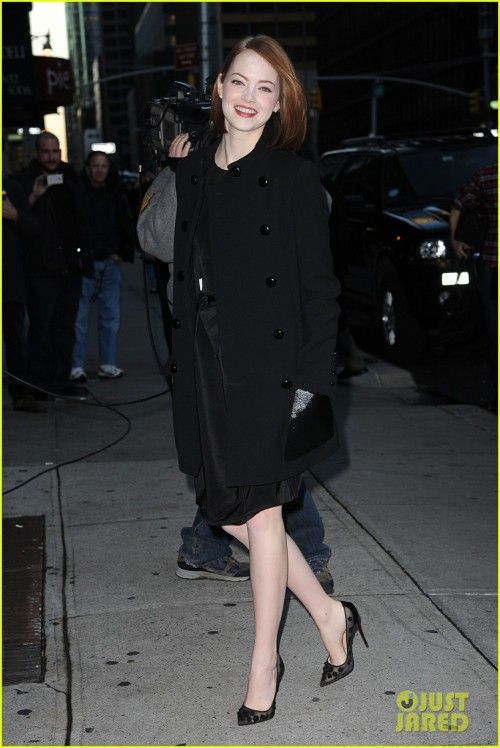 Emma Stone on The Late Show with David Letterman : Emma looked lovely in a black dress with black Michael Kors coat and heels. Her hair simply open with red lipstick completed the look. Beautiful!