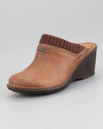 Gael Knit-Trim Leather Clog by UGG Australia at Neiman Marcus.
