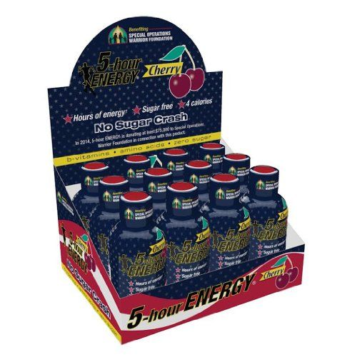 5 Hour Energy Shot Patriotic Cherry Warrior Foundation- 12 Pack of 1.93 Ounce…