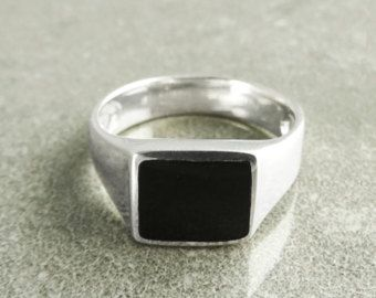 Men/'s Signet Ring Gents Solid Sterling Silver Cushion Signet Engagement Ring