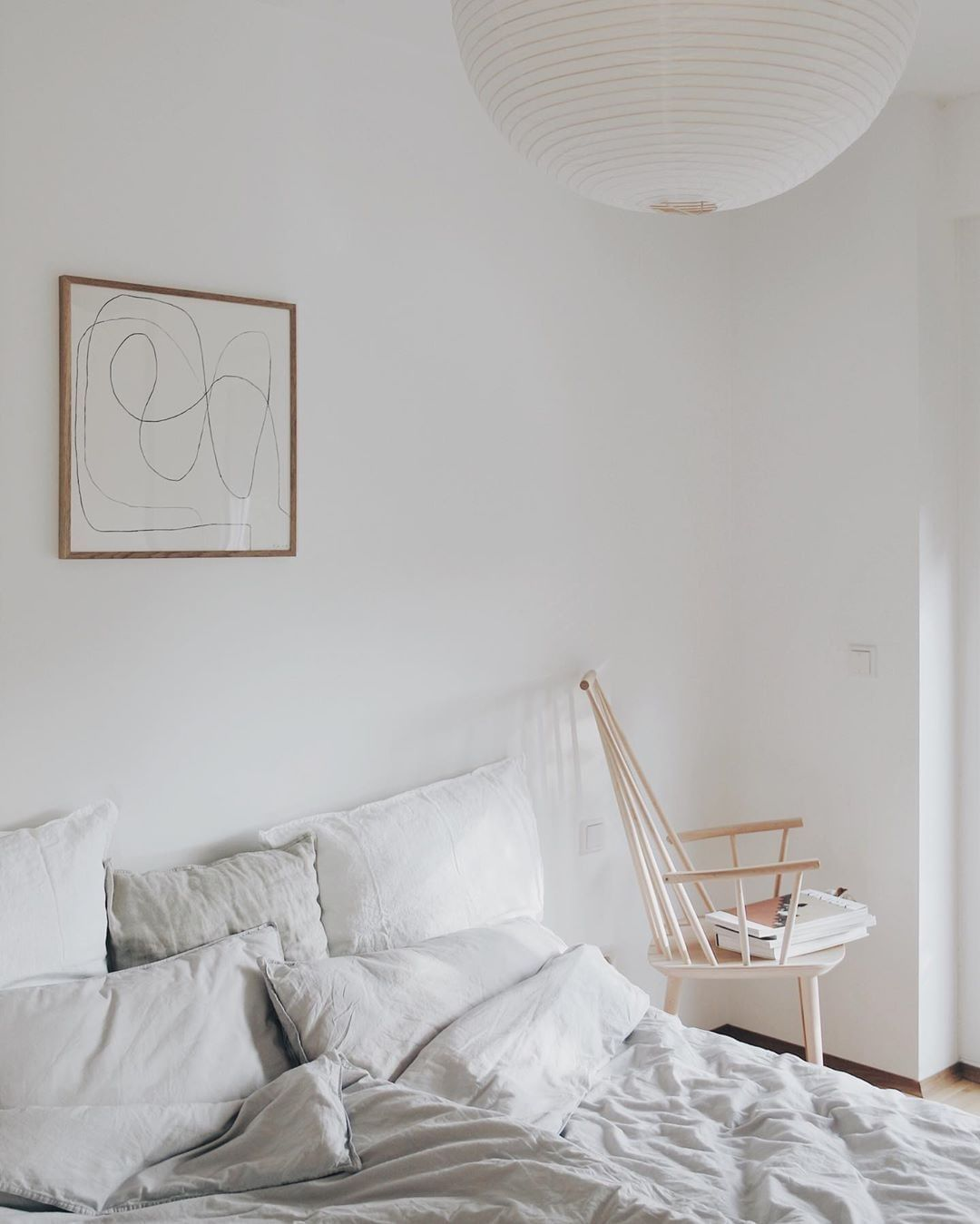 Home Decor Elegant Clean simplicity. Dreamy bedroom with Spring light. White Scandinavian bedroom with stunning abstract art print. #apartmenttherapy #dreamybedroom #bedroominspo #linedrawing #art #poster #lineart Featuring a classic Bycdesign studio print. Captured by @mysoulmateplace..#art #artprint #tpc #theposterclub #interiordesign #nordicdecor #homestyling #bedroomdecor.Home Decor Elegant  Clean simplicity. Dreamy bedroom with Spring light. White Scandinavian bedroom with stunning abstract
