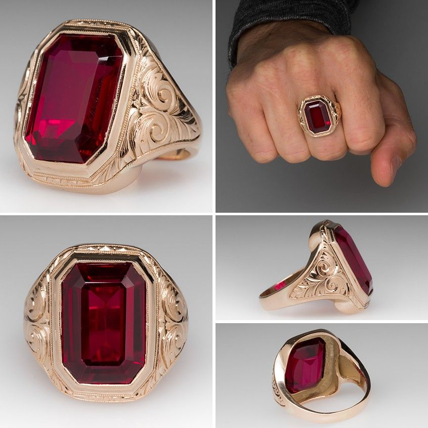 caeb908cd1da7 Vintage Created Ruby Bold Mens Ring. Click on picture to see up ...