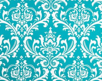 Teal Velvet Fabric | Damask Home Decor Fabric By The Yard Ozborne True  Turquoise Aqua Teal