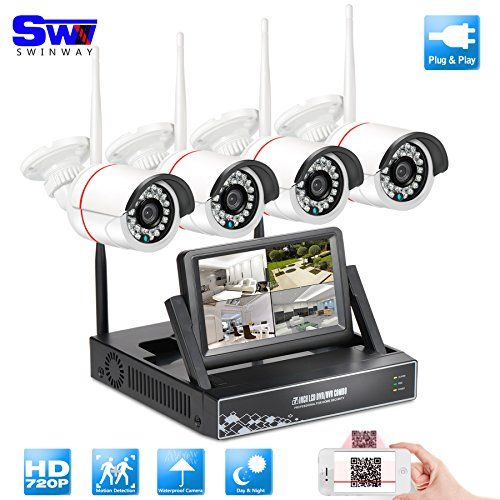 4channel Wifi Security Camera System With 7 Monitor Home Surveillance Camera Wireless 3 6mm Wide Angle 49ft Night Vision Cctv Camera System 4pcs Wireless Ip Bu Wireless Security Camera System Home Security