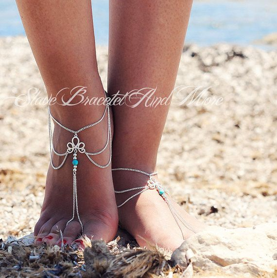 anklet foot jewelry barefoot sandals by SlaveBraceletAndMore