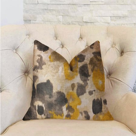 Plutus Pretty Passion Yellow, Beige and Gray Luxury Throw Pillow