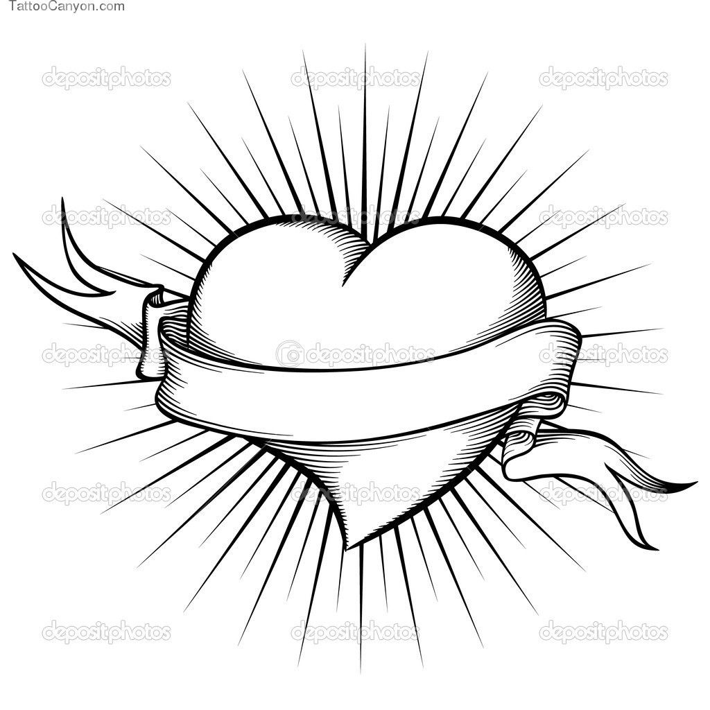 Heart With Ribbon Drawings Coloring pages of hearts with