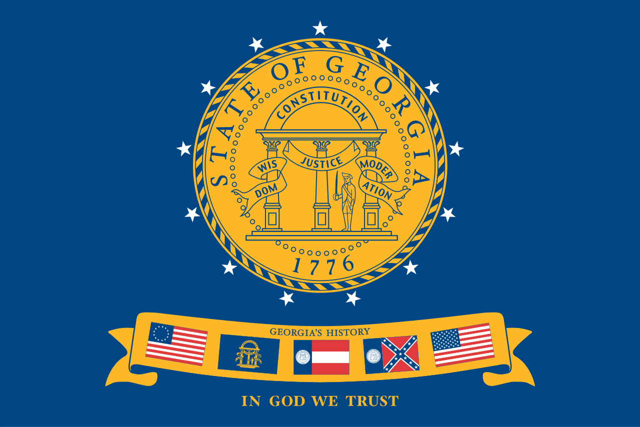Flag Of The State Of Georgia 2003 Georgia State Georgia Flag Georgia History