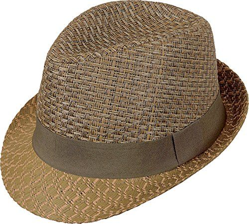 c7d391b6 Kenny K Braided Toyo Straw Hat Olive Brown Khaki Fedora Solid Green Band  (Medium)