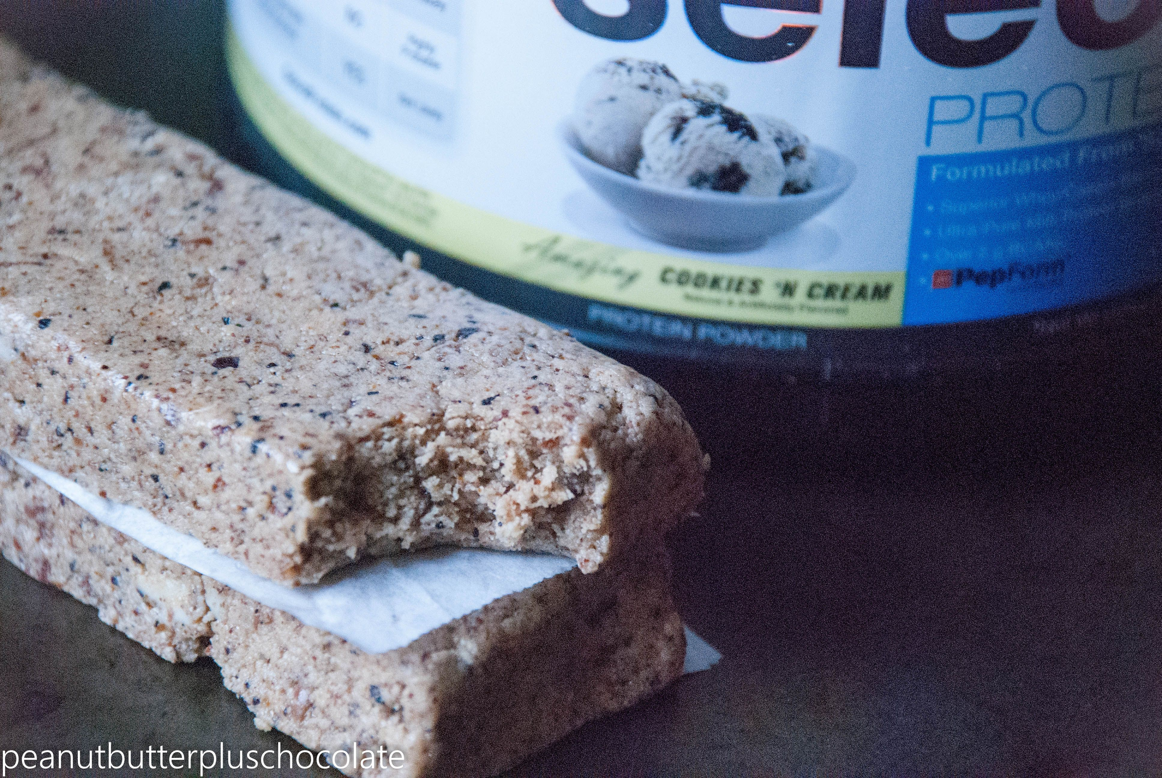 cookies and coffee protein bars (almond butter, cookies and cream protein powder, espresso or coffee granules) | peanut butter plus chocolate
